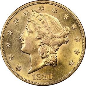 1880 $20 MS obverse