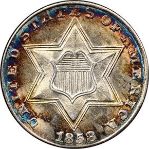 1858 3CS MS obverse