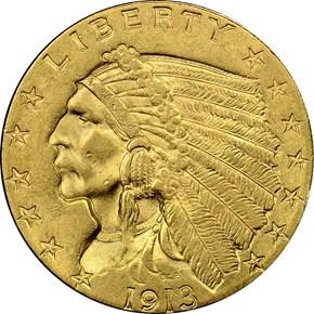 1913 $2.5 MS obverse