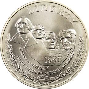 1991 P MOUNT RUSHMORE S$1 MS obverse