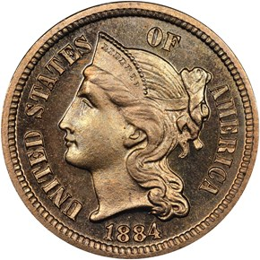 1884 3CN PF obverse