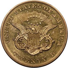 1858 O $20 MS reverse