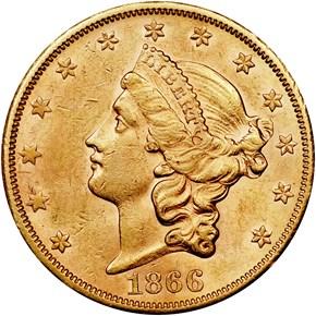 1866 S NO MOTTO $20 MS obverse