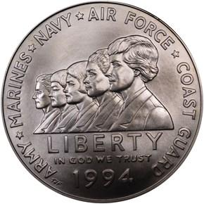 1994 W WOMEN VETERANS S$1 MS obverse