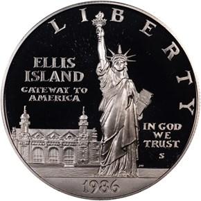 1986 S LIBERTY S$1 PF obverse