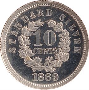 1869 J-712 10C PF reverse