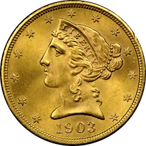 1903 $5 MS obverse