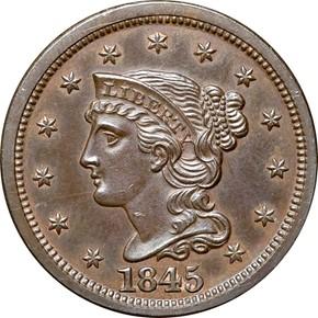 1845 1C PF obverse