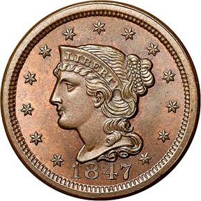 1847 1C MS obverse