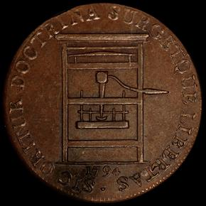 1794 PLAIN EDGE FRANKLIN PRESS TOKEN MS obverse