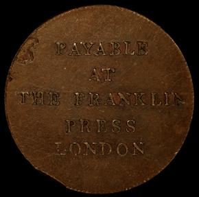 1794 PLAIN EDGE FRANKLIN PRESS TOKEN MS reverse