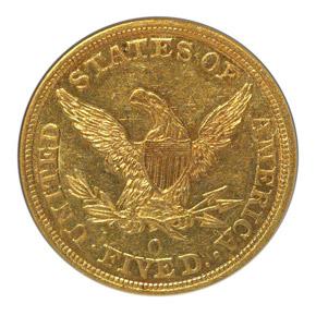 1847 O $5 MS reverse