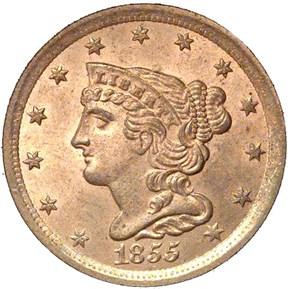 1855 C-1 1/2C MS obverse