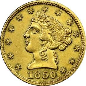 1850 MOFFAT & CO. $5 MS obverse