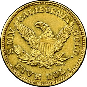 1850 MOFFAT & CO. $5 MS reverse