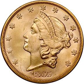 1865 S $20 MS obverse