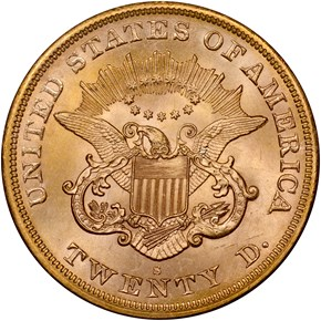 1865 S $20 MS reverse