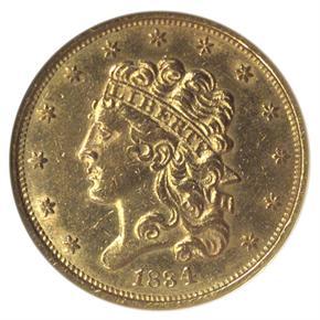 1834 PLAIN 4 CLASSIC SCRIPT 8 $5 MS obverse
