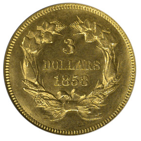 1858 $3 MS reverse