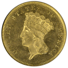 1864 $3 MS obverse