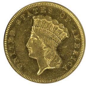 1865 $3 MS obverse
