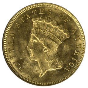 1879 $3 MS obverse