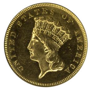 1885 $3 MS obverse