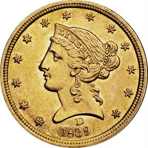 1839 D $5 MS obverse