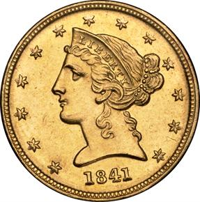 1841 D $5 MS obverse