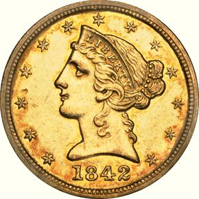 1842 D LARGE DATE $5 MS obverse