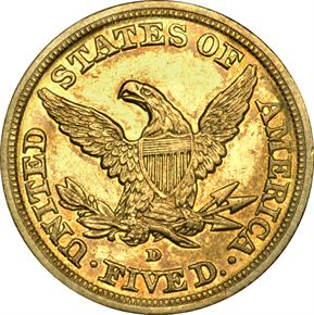 1842 D LARGE DATE $5 MS reverse