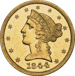 1844 D $5 MS obverse