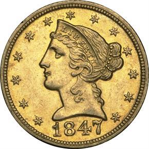 1847 D $5 MS obverse