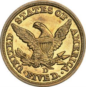 1848 D $5 MS reverse
