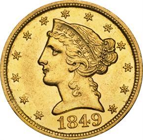 1849 D $5 MS obverse
