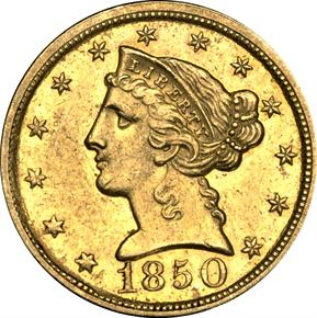 1850 D $5 MS obverse