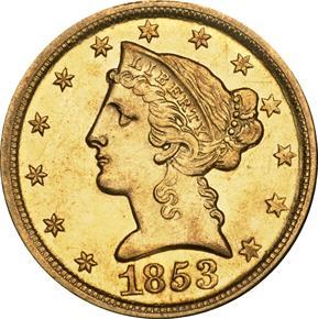 1853 D $5 MS obverse