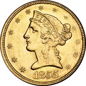 1855 D $5 MS obverse