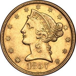 1857 D $5 MS obverse