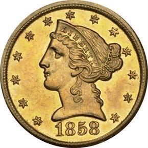 1858 D $5 MS obverse