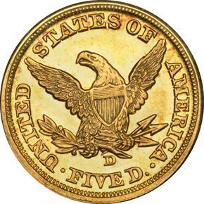 1860 D $5 MS reverse
