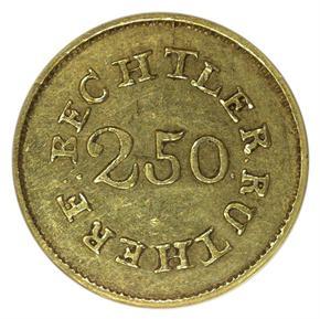 (1837-42) C.BECHTLER 70G, 20C $2.5 MS reverse