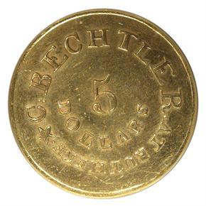 (1834-37) C.BECHTLER 140G, DISTANT 20C $5 MS reverse