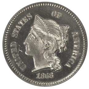 1868 J-608 1C PF obverse