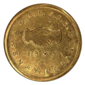 1849 MORMON $20 MS obverse