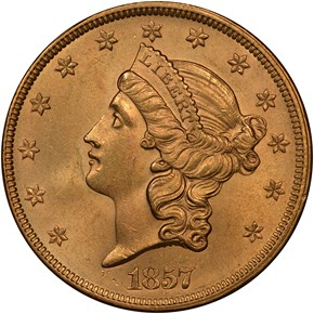 1857 $20 MS obverse