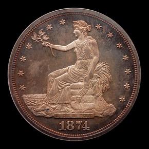 1874 T$1 PF obverse