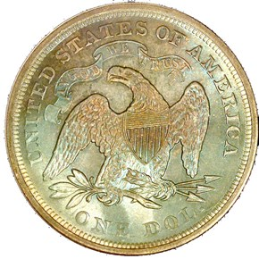 1866 MOTTO S$1 MS reverse