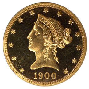 1900 $10 PF obverse