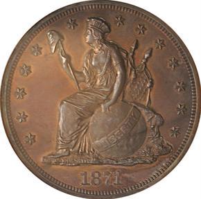 1871 J-1155 T$1 PF obverse